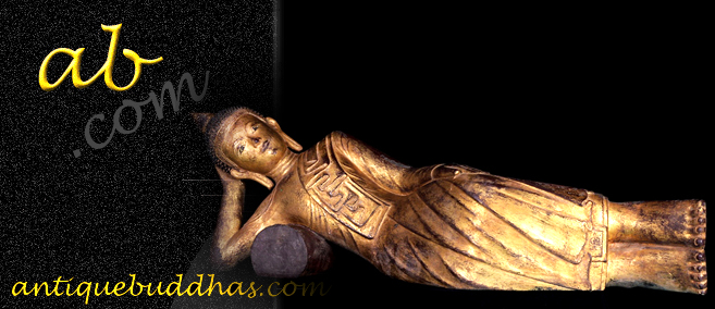 Extremely Rare Early 18C Wood Shan Reclining Buddha # A144