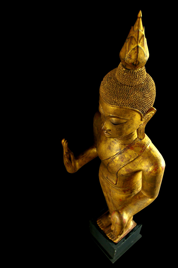 Extremely Rare Early 19C Standing Laos Buddha #B055