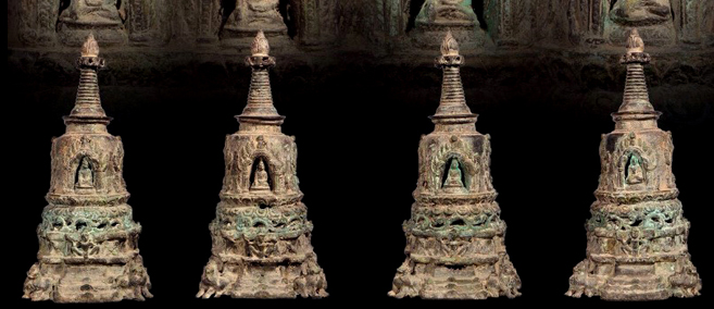 Extremely Rare 19C Bronze Burmese Mandalay Buddhist Chedi # CA12.A