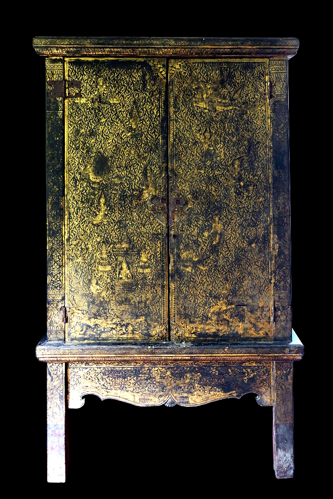 Extremely Rare Early 19C Rattanakosin Buddhist Chest #A119