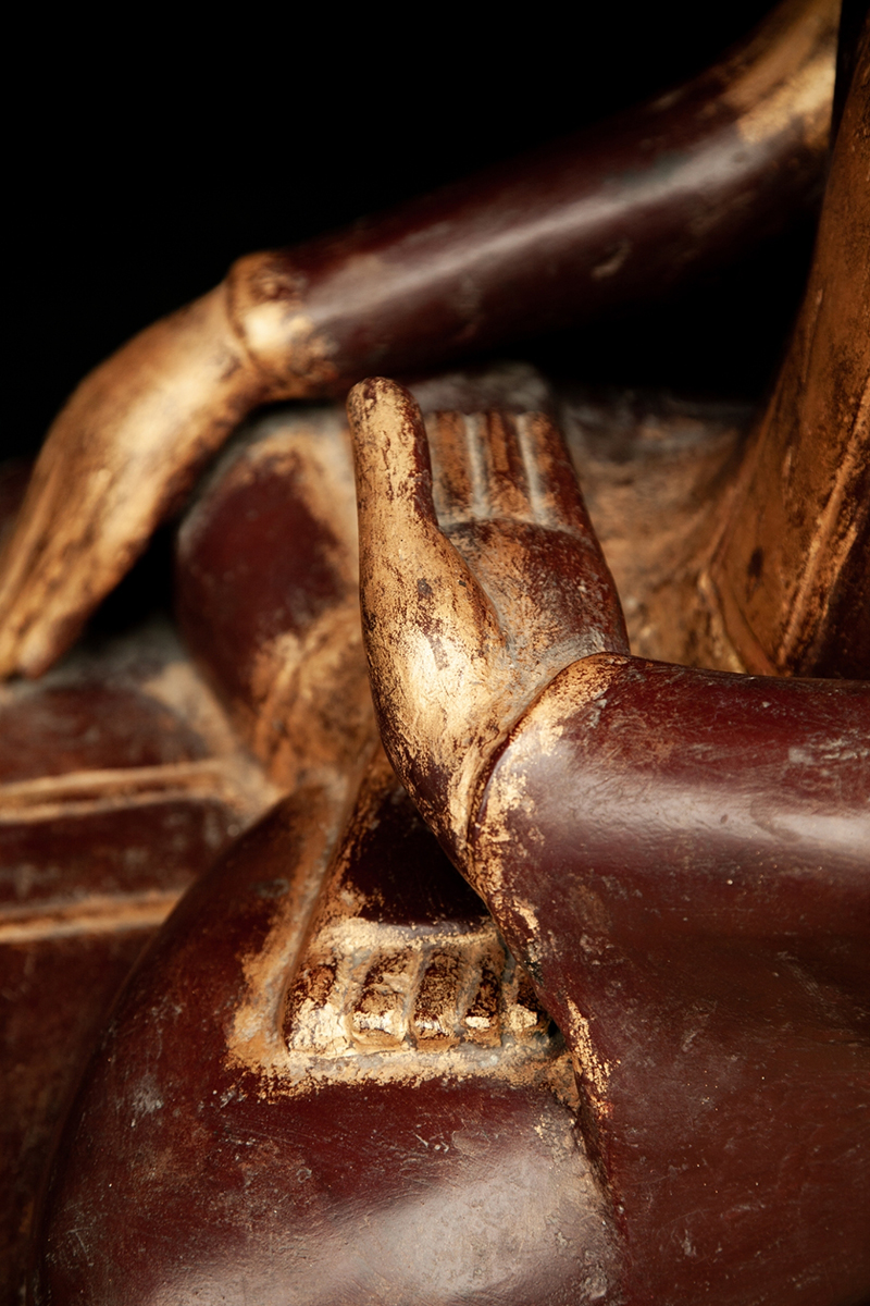 Extremely Rare 19C Reclining Lacquer Mandalay Buddha #DW029