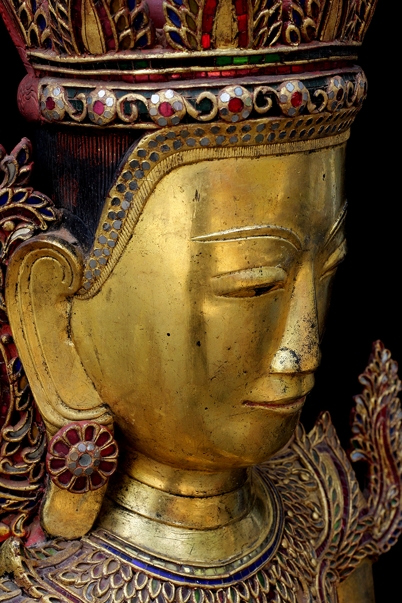 Extremely Rare Early 18C Lacquer Shan Burmese Buddha #DW098
