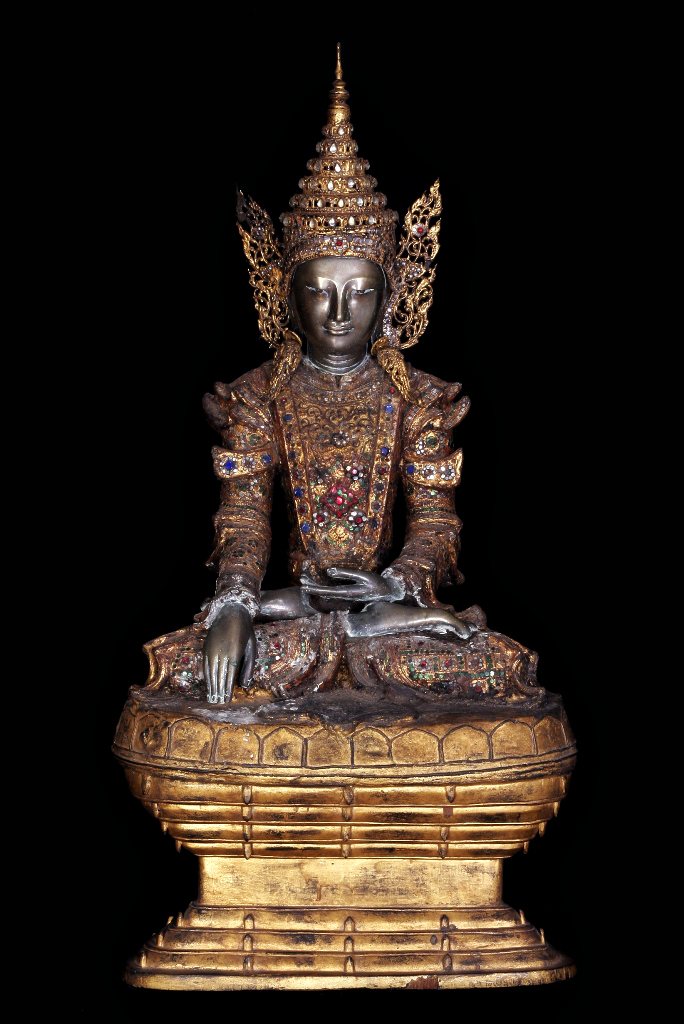 Mid 18C - Early 19C Bronze Sitting Royal Mandalay Buddha #AC126