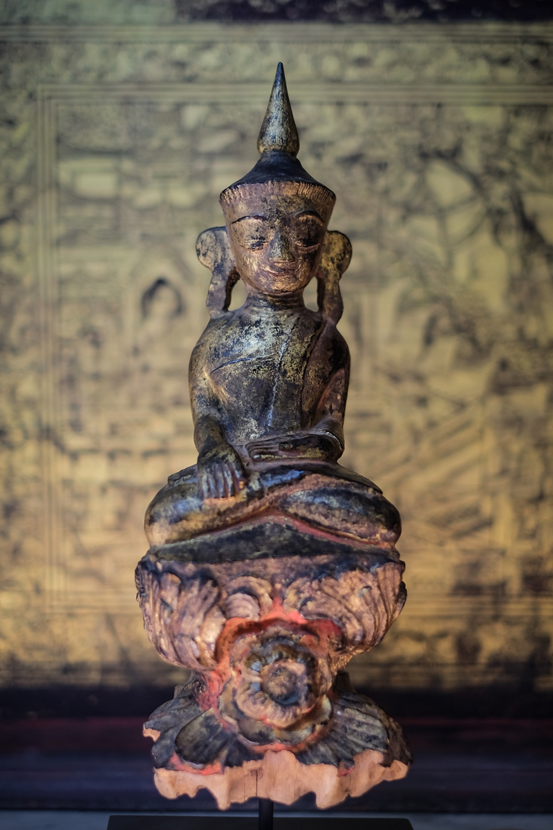 Extremely Rare Early 19C Standing Mandalay Burma Buddha #A026