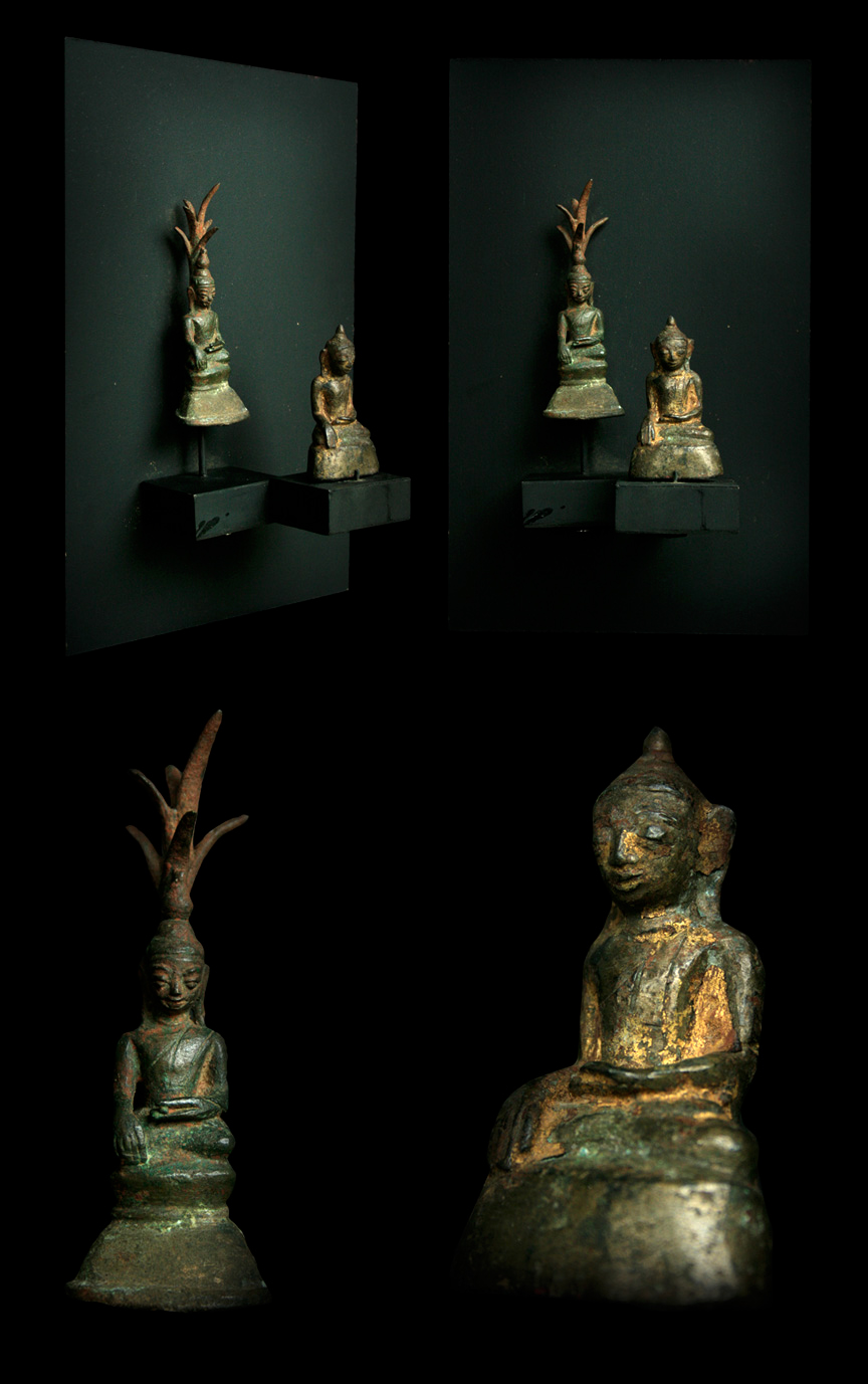 Extremely Rare Early 19C Bronze Burma Shan Buddha #OF139